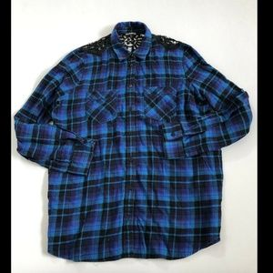 Express Women's Blue Flannel Long Sleeved Collared